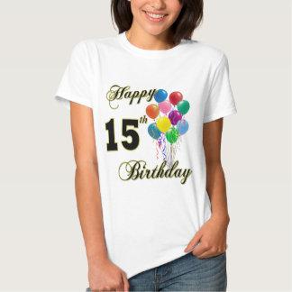 Décimo quinta camiseta feliz del cumpleaños playera