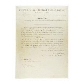 Décimo quinta constitución de los E.E.U.U. de la e Lienzo Envuelto Para Galerias