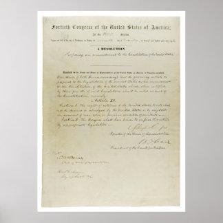 Décimo quinta constitución de los E.E.U.U. de la e Póster