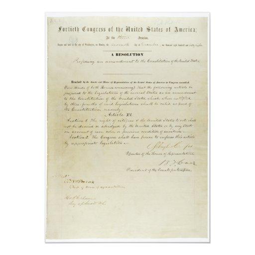 Décimo quinta constitución de los E.E.U.U. de la Anuncios