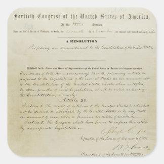 Décimo quinta constitución de los E.E.U.U. de la Pegatina Cuadrada