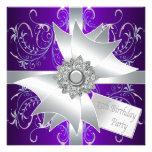 Décimo quinta fiesta de cumpleaños de la púrpura e invitación personalizada