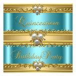 Décimo quinta joya elegante de la perla del oro de invitaciones personales