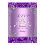 Décimo quinta lila de la púrpura de la fiesta de c invitacion personal