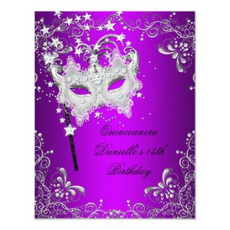 """Décimo quinta mascarada púrpura del cumpleaños de invitación 4.25"""" x 5.5"""""""