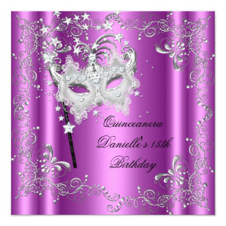 """Décimo quinta mascarada rosada de la fiesta de invitación 5.25"""" x 5.25"""""""