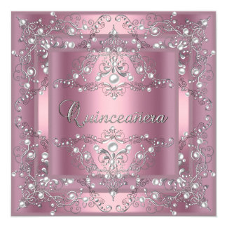 Décimo quinta perla del rosa de la fiesta de invitación 13,3 cm x 13,3cm