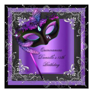 """Décimo quinta púrpura de la mascarada de la fiesta invitación 5.25"""" x 5.25"""""""