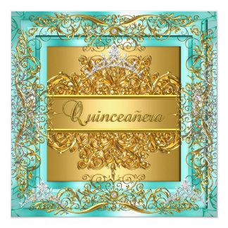 Décimo quinta tiara de la plata del trullo del oro invitación personalizada