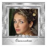 Décimo quinta tiara de plata blanca de la fiesta d invitación personalizada