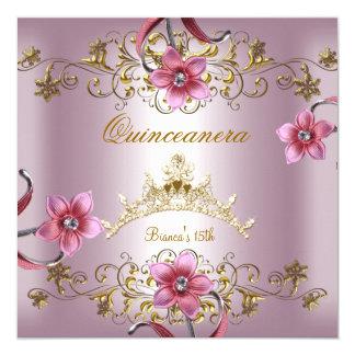 Décimo quinta tiara rosada del oro de las flores invitación 13,3 cm x 13,3cm