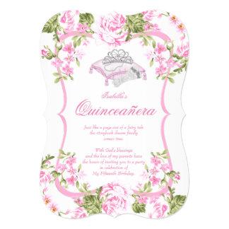 """Décimo quintas flores rosadas dulces de los rosas invitación 5"""" x 7"""""""