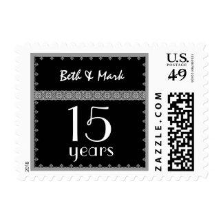 décimo quinto Aniversario del año - negro y sello