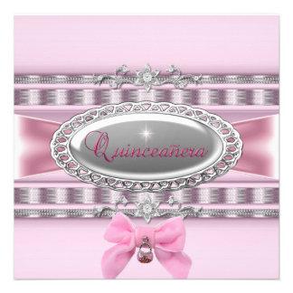 Décimo quinto arco del rosa del satén del cumpleañ invitación personalizada