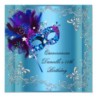 """Décimo quinto azul de la mascarada de la fiesta de invitación 5.25"""" x 5.25"""""""