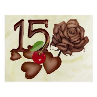 décimo quinto chocolate del cumpleaños subió y dis