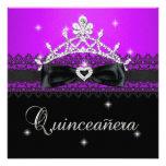Décimo quinto cordón negro púrpura de la fiesta de invitacion personalizada