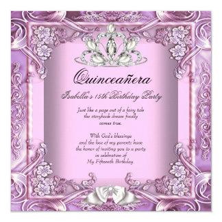 Décimo quinto cumpleaños de princesa Quinceanera Invitación 13,3 Cm X 13,3cm