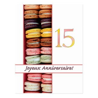 décimo quinto ¡Cumpleaños francés Macaron-Joyeux Postal