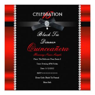 """Décimo quinto fiesta negro rojo real del lazo invitación 5.25"""" x 5.25"""""""