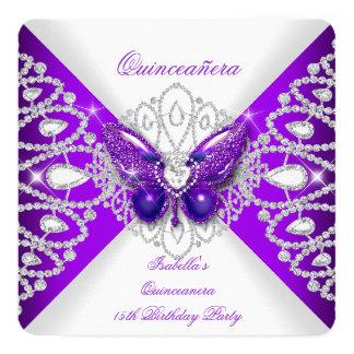 """Décimo quinto fiesta púrpura 2 de la tiara de la invitación 5.25"""" x 5.25"""""""