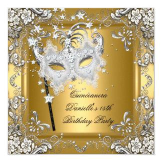 """Décimo quinto oro de la máscara de la mascarada invitación 5.25"""" x 5.25"""""""