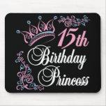 décimo quinto Princesa del cumpleaños Tapetes De Ratón