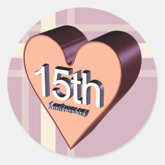 décimo quinto Regalos del aniversario de boda Pegatina Redonda