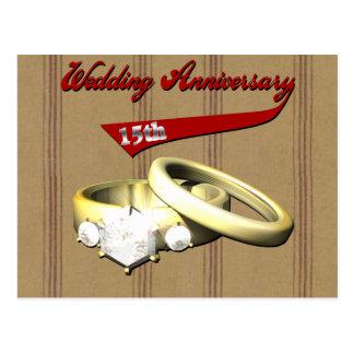 décimo quinto Regalos del aniversario de boda Tarjeta Postal