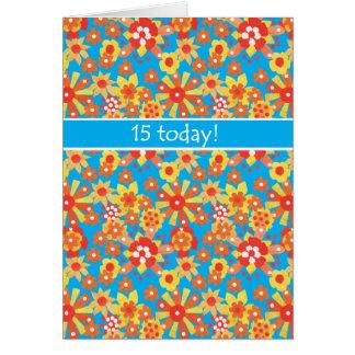 décimo quinto Tarjeta de cumpleaños, flores del na