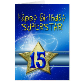décimo quinto Tarjeta de cumpleaños para la