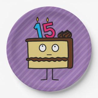 décimo quinto Torta de cumpleaños con las velas Platos De Papel