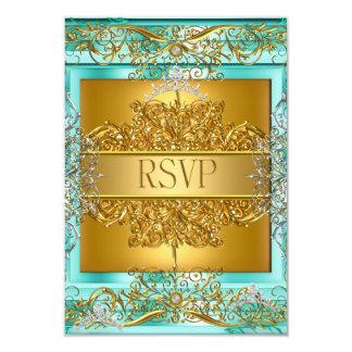 Décimo quinto trullo del oro del cumpleaños de invitación 8,9 x 12,7 cm