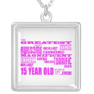 Décimo quintos cumpleaños de los chicas: 15 años m colgante cuadrado