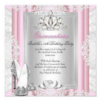 """Décimo quintos zapatos rosas claros de la fiesta invitación 5.25"""" x 5.25"""""""