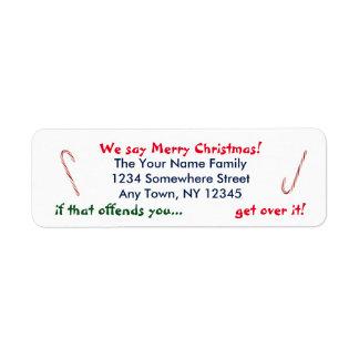 Decimos Felices Navidad Etiqueta De Remitente