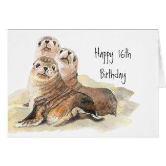 Décimosexto animales de la acuarela del cumpleaños tarjeta