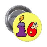 décimosexto Botón de la fiesta de cumpleaños Pin