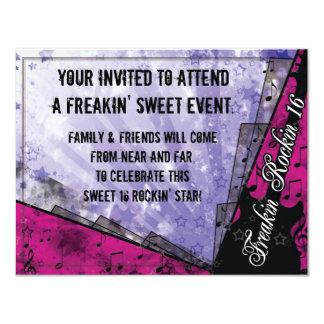 Décimosexto cumpleaños de Freakin Rockin Invitación 10,8 X 13,9 Cm