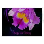 Décimosexto cumpleaños de la orquídea púrpura tarjeton