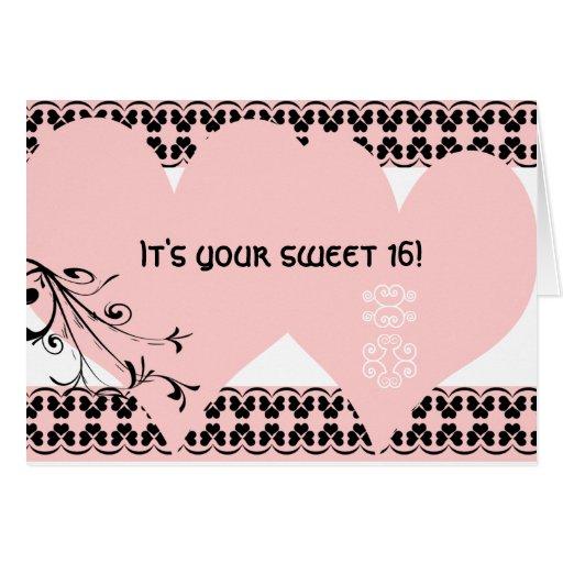 Décimosexto cumpleaños del dulce rosado del tarjeta de felicitación