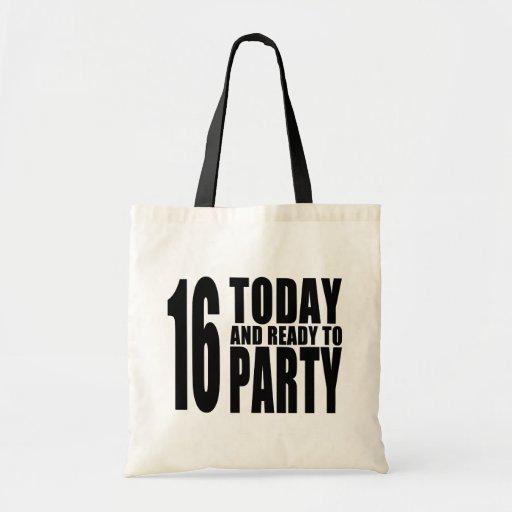 Décimosexto cumpleaños divertidos: 16 hoy y aliste bolsa lienzo