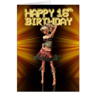 Décimosexto cumpleaños feliz Deva en la etapa Tarjeta De Felicitación