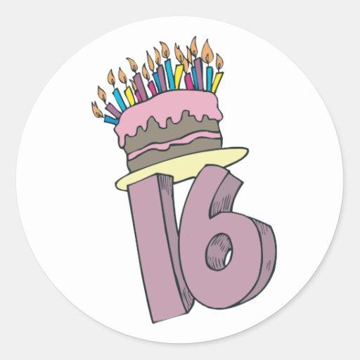 ¡Décimosexto cumpleaños feliz! Pegatina Redonda