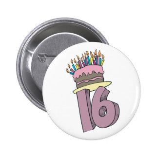 ¡Décimosexto cumpleaños feliz! Pin Redondo De 2 Pulgadas
