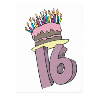 ¡Décimosexto cumpleaños feliz! Tarjeta Postal