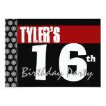 décimosexto Cumpleaños moderno para él negro Invitación 12,7 X 17,8 Cm
