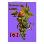 décimosexto Deseos del aniversario, customiseable Felicitaciones
