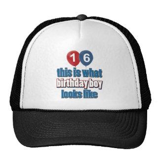 décimosexto diseños del cumpleaños del año gorras