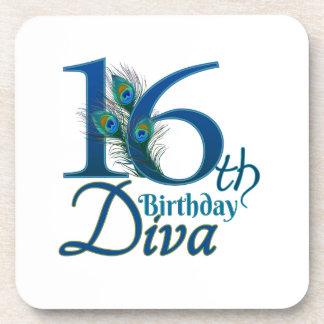 décimosexto Diva del cumpleaños Posavasos